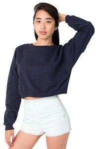 American Apparel Fleece Crewneck Cropped Sweatshirt Sweater