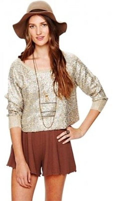Free People Top silver metalic