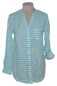 Coldwater Creek Striped Linen Resort Casual Button Down Shirt Blue