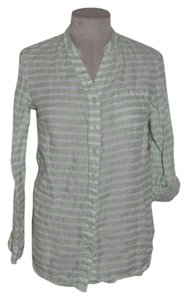 Coldwater Creek Striped Linen Casual Resort One-pocket Button Down Shirt Green