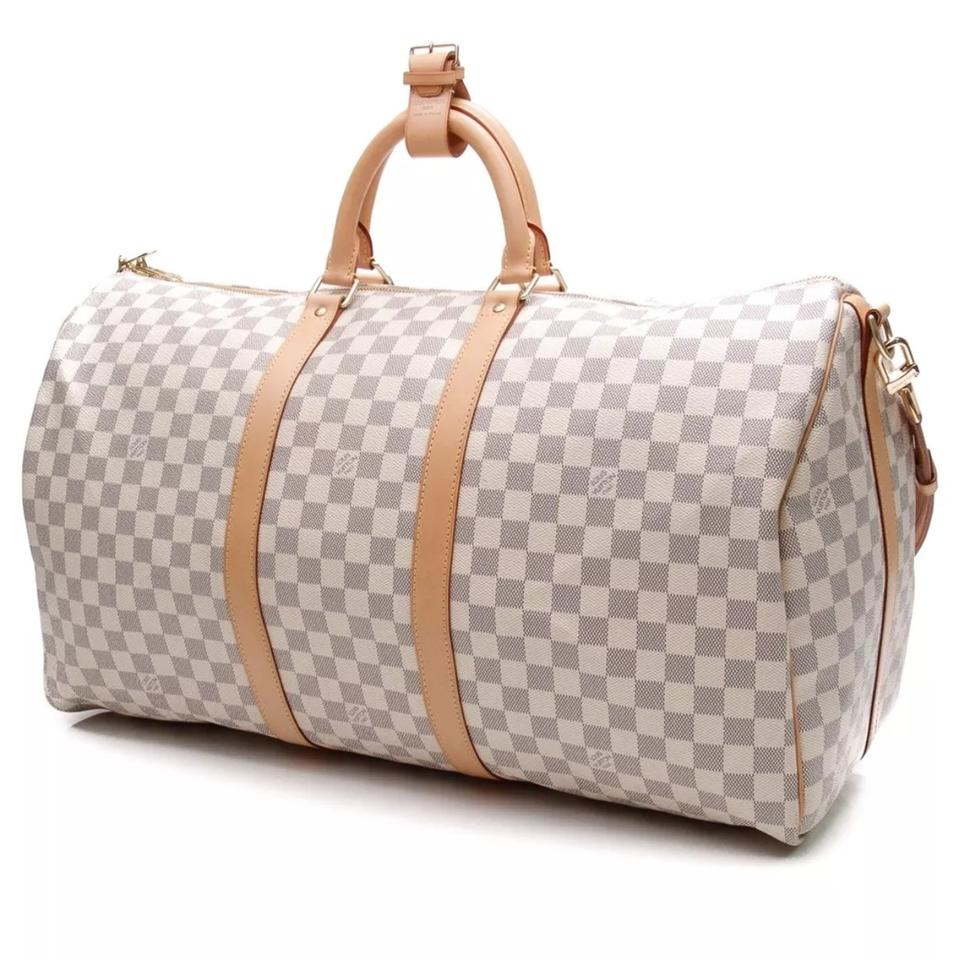 79a7fb0cf165 Louis Vuitton Keepall Speedy Duffle Bandouliere 55 Damier Azur (Graphite  Ebene Cobalt Macassar 25 30 35 40 45 50 60) White Leather Weekend Travel Bag
