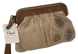 Fossil Beige and Brown Clutch