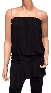 BCBGMAXAZRIA Drop Waist Tube Handkerchief Hem Top Black