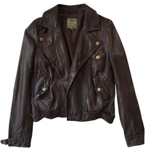 Madewell Bomber Waxed Motorcycle Brown Leather Jacket