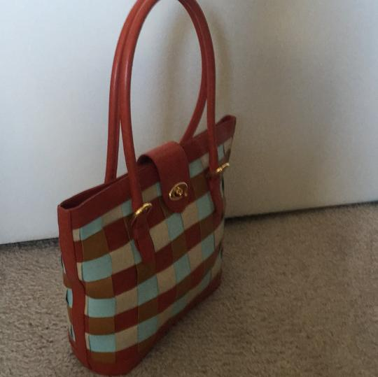 Cynthia Rowley Tote in Red, Tan And Sky Blue