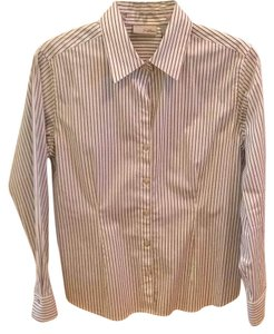 Chico's Button Down Shirt Charcoal pinstripe