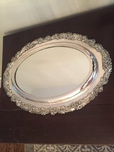 Reed & Barton Silver- Mirrored Plateau Tray In The Burgundy Patter .