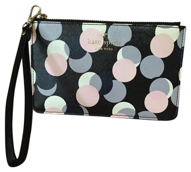 Item - Pwru4726 Multi (Black Pink Navy Gray) Printed Glazed Crosshatched Fabric with Matching Trim Wristlet