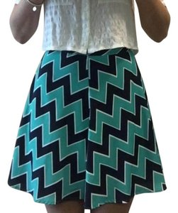 Francesca's Flippy A-line Chevron Skirt Navy and Teal