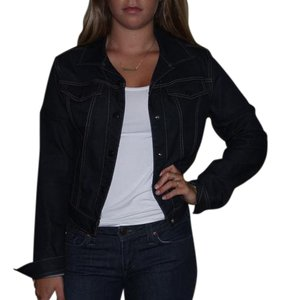 Elie Tahari dark blue Womens Jean Jacket
