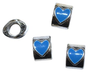 Silver Plated Blue Heart Pandora Compatible Bead Charm