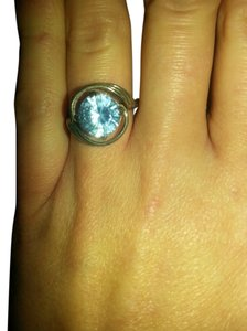 Rare Antique Blue Ice Crystal swirl Cocktail ring Sterling silver. size 9.5