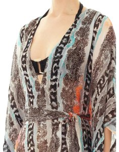 Diane von Furstenberg Sheer Orange Snake Beach Cover Up