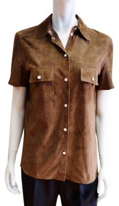 Michael Kors Collar Pelle Leather Short Sleeve Blouse Shirt Button Down Shirt Brown