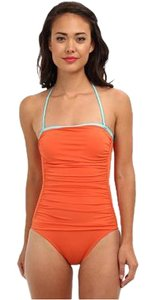 Tommy Bahama Tommy Bahama Deck Piping Shirred Bandeau Cup One Piece Ginger/Capri Size 8