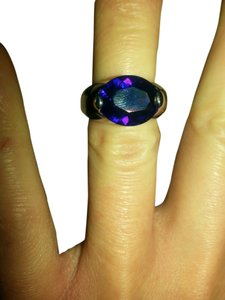 Stunning high set Amethyst Crystal Ring. size 5