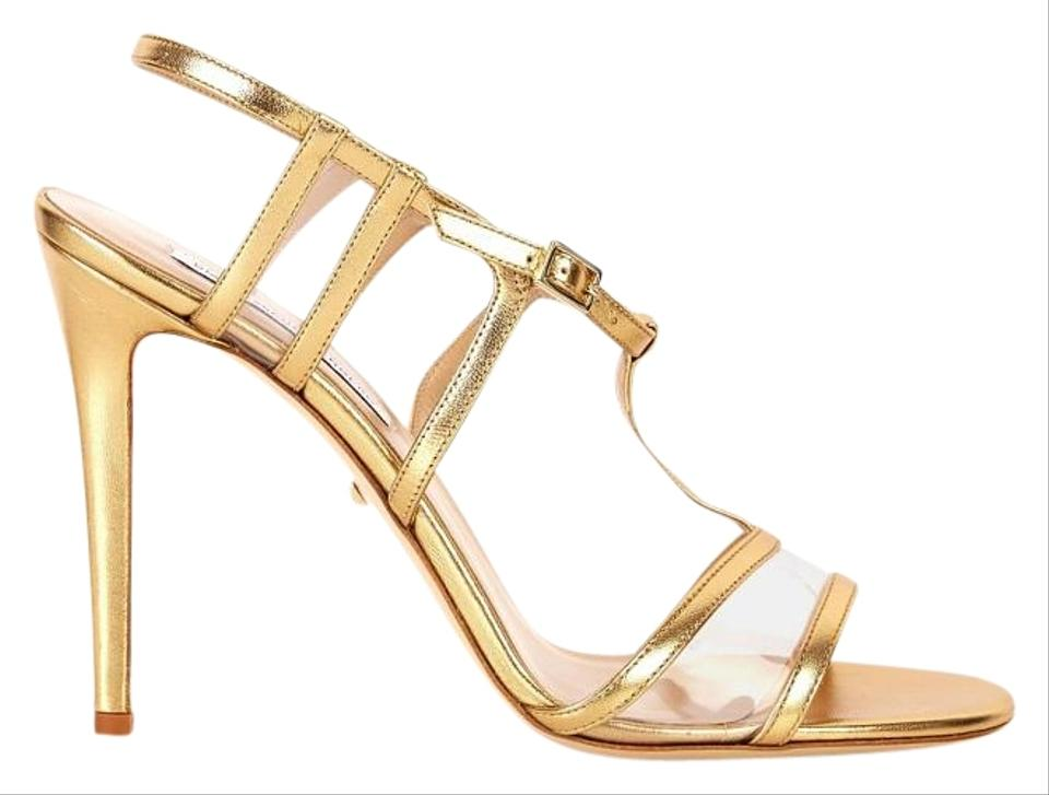 Diane von Furstenberg Metallic Gold Viola Too Metallic Furstenberg Leather Sandals 229b29