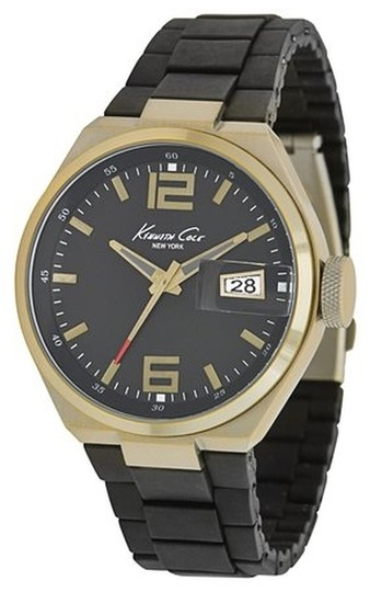 Preload https://img-static.tradesy.com/item/1638189/kenneth-cole-antique-gold-male-casual-kc9048-black-analog-watch-0-0-540-540.jpg