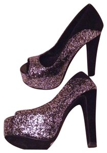 Michael Antonio Suede Glitter Stiletto Club Black Silver Platforms