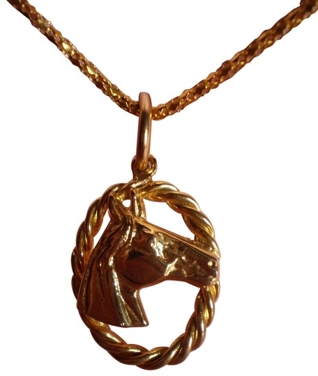 Unknown Goldtone horse necklace