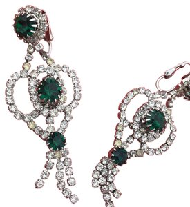 Albert Weiss Green And Sparkling Clear Rhinestoned Earrings