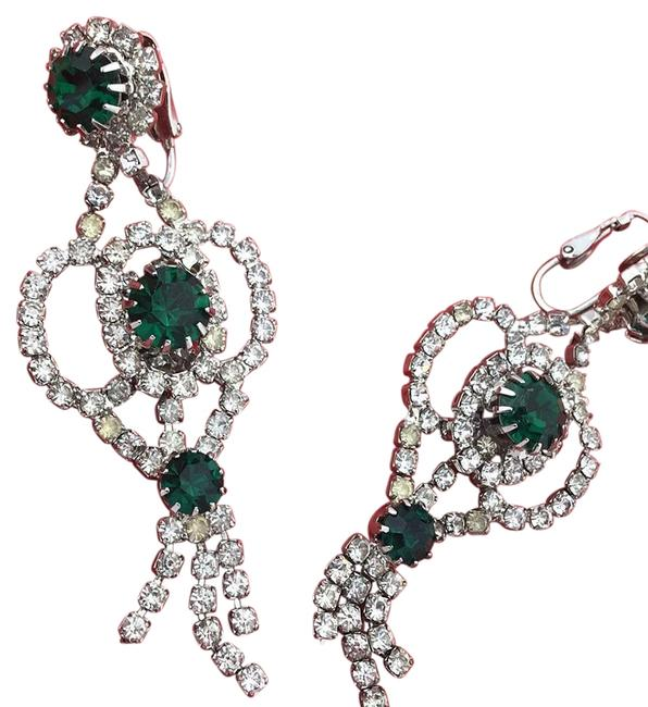 Item - Green and Clear Rhinestoned Drop Sparkling Earrings