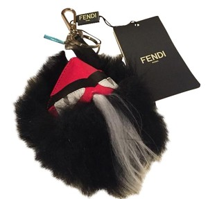 Fendi Black & Red Fur-Trimmed Monster Bug Keychain
