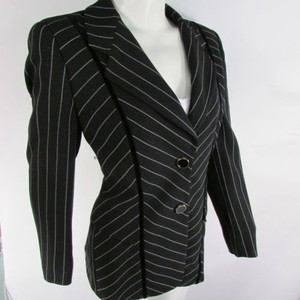Escada Escada Women Black White Stripes Wool Pants Skirt Evening Suit Jacket 38