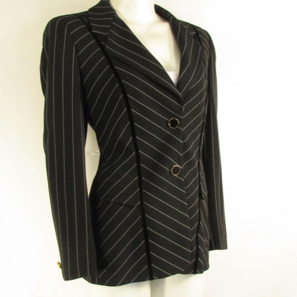 Escada Women Black White Stripes Wool Pants Skirt Evening Suit