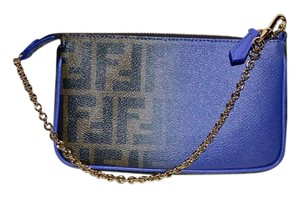 415c19ad74ab Fendi Zucca Pochette Small Purse New Brown Tobacco   Lilac Ombre Canvas and  Leather Wristlet