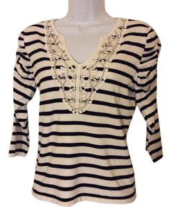 Red petites Vintage. Embellished V-neck Striped Lace Silver Top Black and white