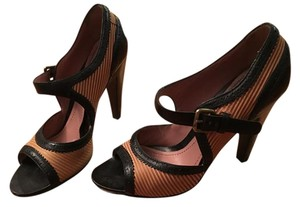 Derek Lam Mary Janes Peep Toe Black & Tan Pumps