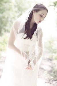 Light Ivory Long Cathedral Length Lace Bridal Veil