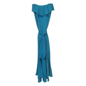 Aqua Blue Maxi Dress by Amanda Uprichard Flowy Tie Waist Silk Strapless
