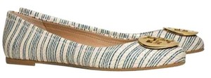 Tory Burch Reva PIANO STRIPE BLUE GOLD 475 Flats