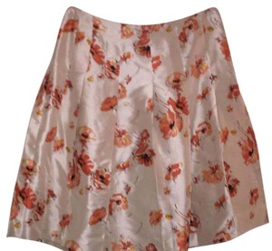 Banana Republic Skirt Gold tinted with orange flower pattern