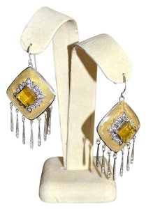 Miriam Salat Miriam Salat Resin Sterling Fringe Drop Dangler Earrings Butterscotch