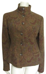 Ralph Lauren Black Label Coat 12 L Large Paisley Red Gold Metallic Rusty Military Jacket