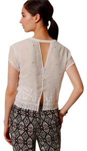 Anthropologie Embellished White Cut Out Back T Shirt NWT White