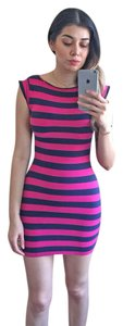 French Connection short dress Magenta, BLue Striped on Tradesy