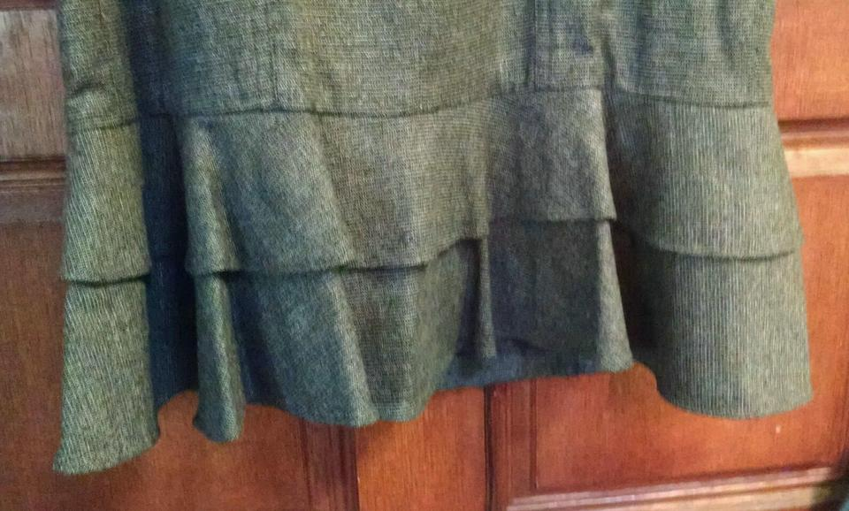 bebe brown gray sexy plaid wool ruffle hem belted mid length work office dress size 6 s. Black Bedroom Furniture Sets. Home Design Ideas