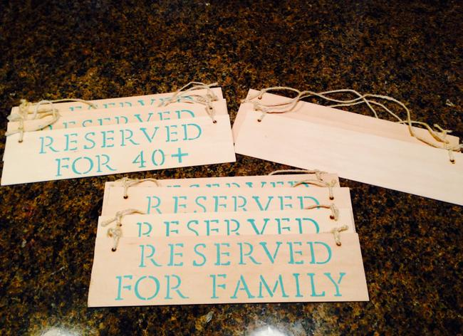 Item - Mint Green/ Light Wood 'reserved' Ceremony Signs Aisle Runner
