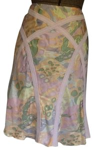 A|X Armani Exchange Silk Summer Pattern New Skirt Pastel coral pink yellow green and grey
