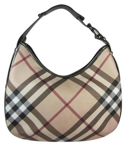 Burberry Nova Check Leather Shoulder Hobo Bag