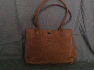 Longchamp Suede Tote in Brown