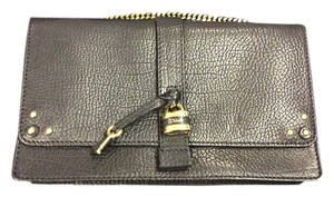 Chloé Aurore Grained Leather Gold Padlock Accents Chain Wallet Wallet On A Chain Woc Shoulder Bag