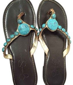 Jessica Simpson Espresso with turquoise detail Sandals