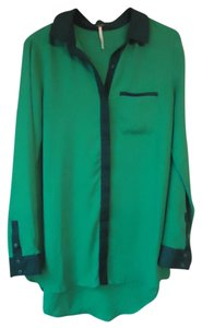 Free People Colorblock Long Sleeve Button Down Shirt green