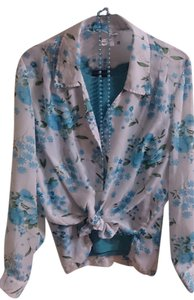 Blair Floral Long Sleeve Top Ocean Blue