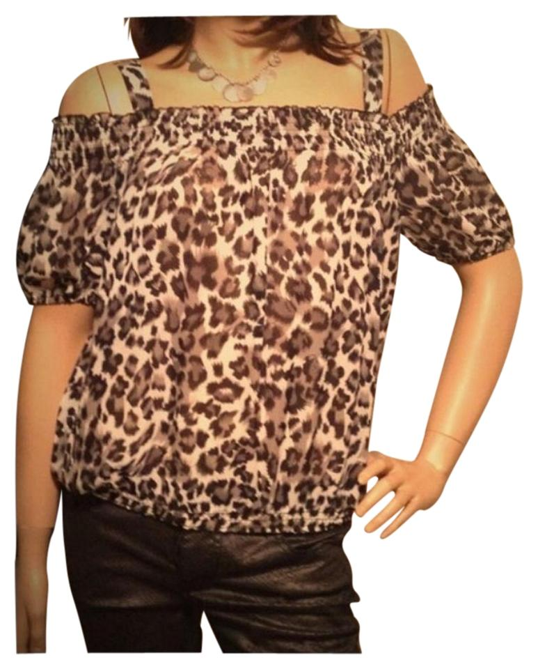 3f4a01b2c47d4 Forever 21 White Brown Black Leopard Print Blouse Size 8 (M) - Tradesy